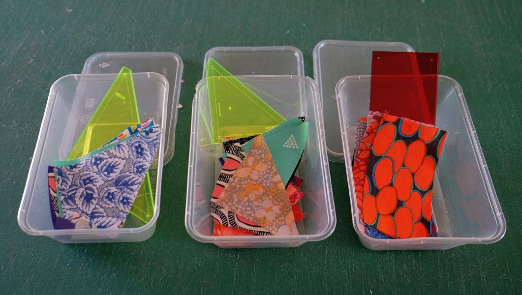 Cut Scrap Fabrics In Containers