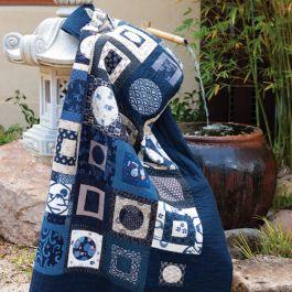 Indigo Op Art Quilt By Anne Sommerland