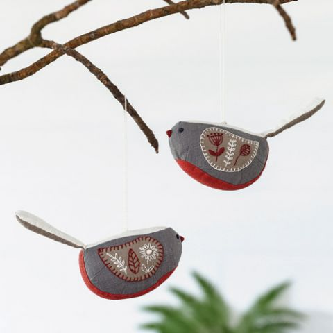 Bell Birds Christmas Ornaments