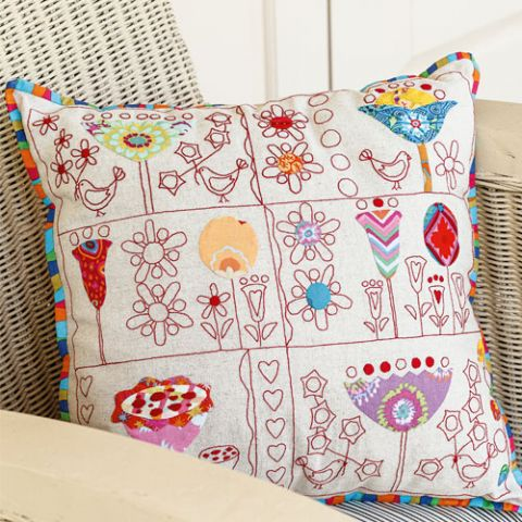 Birds and Blooms Embroidered Cushion