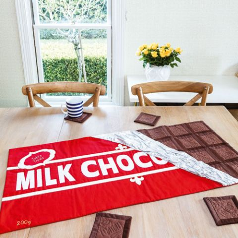 Block A Choc Tablerunner And Coasters
