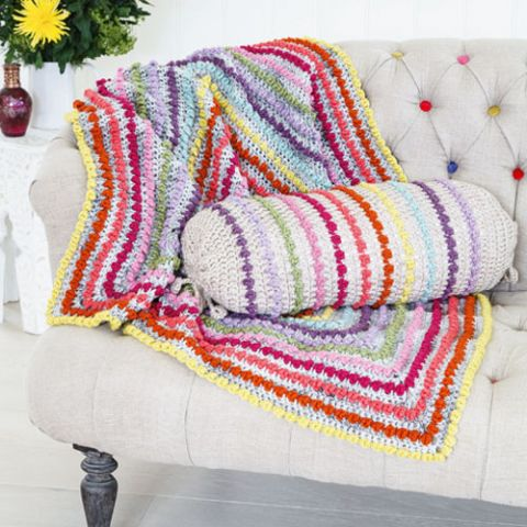 Bobbled Dazzlers Crochet Blanket And Cushion Set