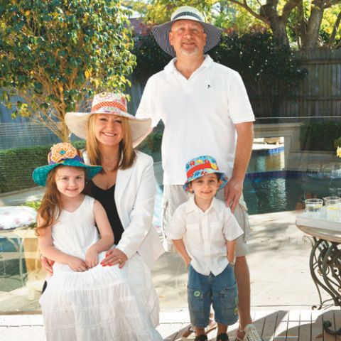 Styled shot of family wearing sunhats