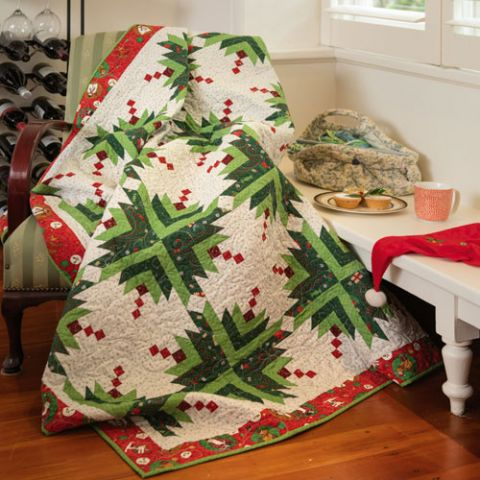 styled shot of christmas kissing ball quilt