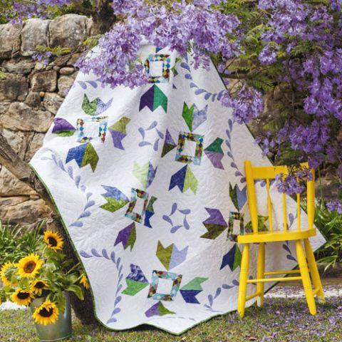 styled shot jacaranda quilt