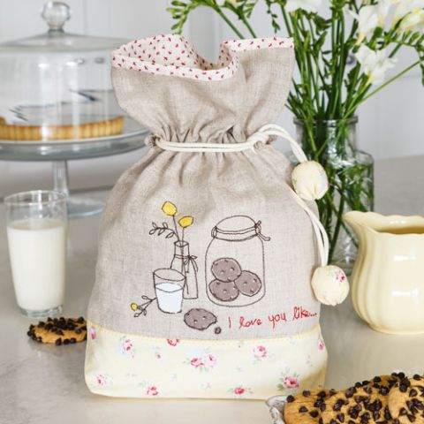 styled shot of milk and cookies bag