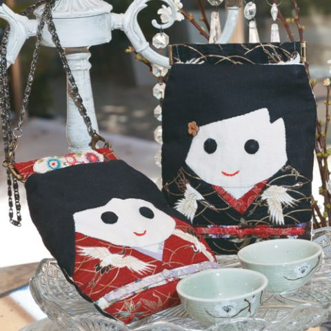 Styled shot of japanese-style doll-shaped bag and purse set