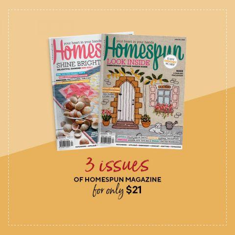 3 issues of Homespun Magazine
