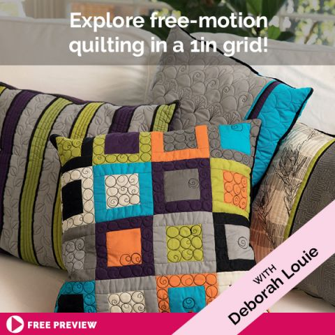 Explore free-motion quilting in a 1in grid!