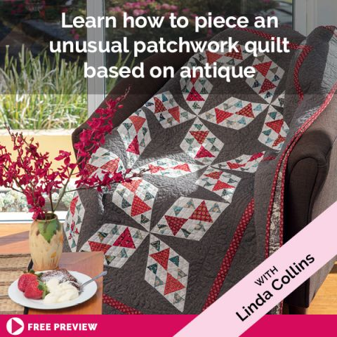 Learn how to piece an unusual patchwork quilt based on antique