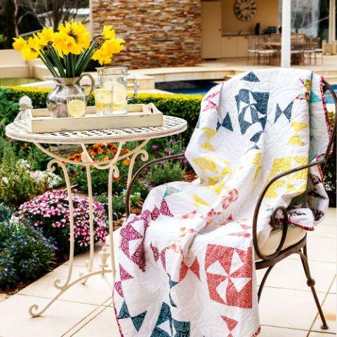 styled shot of spring breeze pinwheel quilt