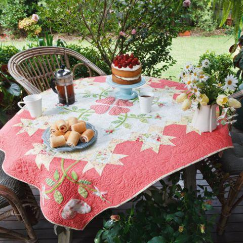 styled shot of starflower quilt