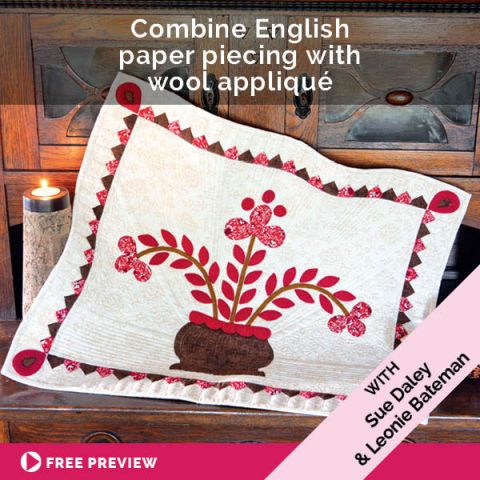 Combine English paper piecing with wool appliqué!