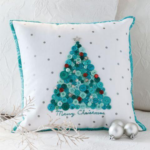 styled shot of tree chic christmas cushion
